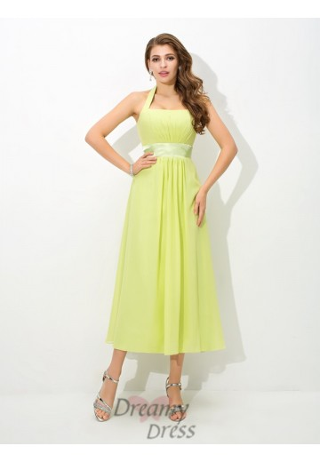 A-line Halter Ankle-Length Chiffon Bridesmaid Dress
