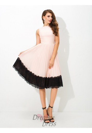 A-line High Neck Lace Tea-Length Chiffon Cocktail Dress