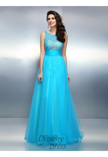 A-Line/Princess Bateau Elastic Woven Satin Long Dress
