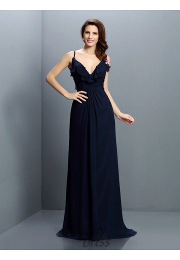 A-Line/Princess Spaghetti Straps Sweep/Brush Train Chiffon Bridesmaid Dress