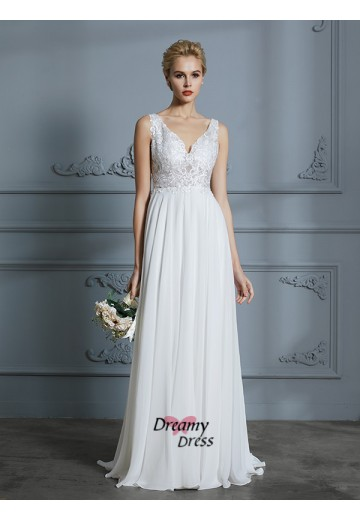 A-Line V-neck Sweep/Brush Train Chiffon Wedding Dress