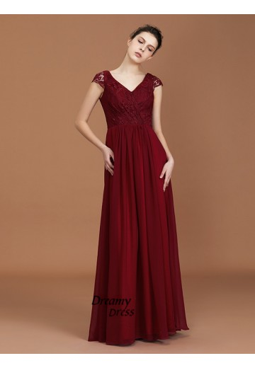 A-Line Chiffon V-neck Floor-Length Bridesmaid Dress