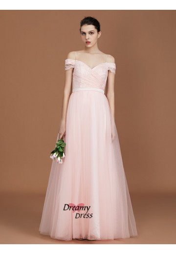 A-Line Spaghetti Straps Sweetheart Floor-Length Tulle Bridesmaid Dress