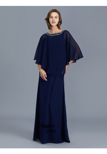 Sheath Scoop Chiffon Floor-Length Mother of the Bride Dress