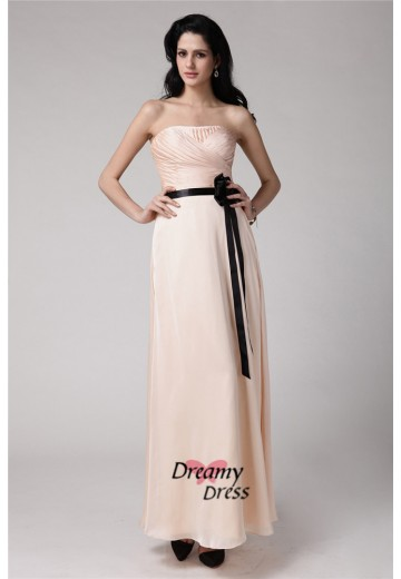 Sheath Strapless Elastic Woven Satin Chiffon Bridesmaid Dress