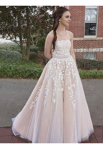 A-Line Strapless Floor-Length Tulle Dress