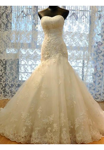Mermaid Sweetheart Tulle Court Train Wedding Dress