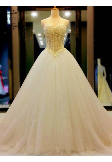 Ball Gown Sweetheart Tulle Court Train Wedding Dress