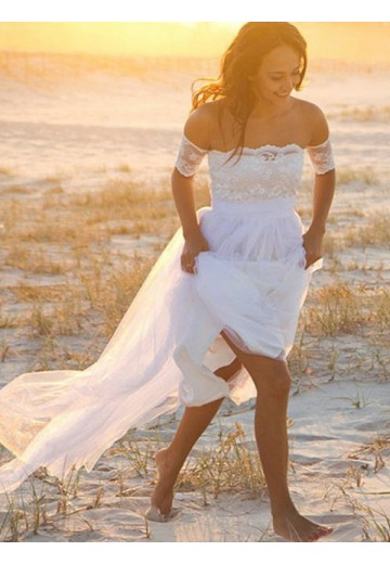 A-Line Chiffon Off-the-Shoulder Lace Floor-Length Wedding Dress