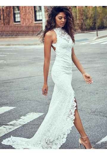 Mermaid Lace Halter Sweep/Brush Train Wedding Dress