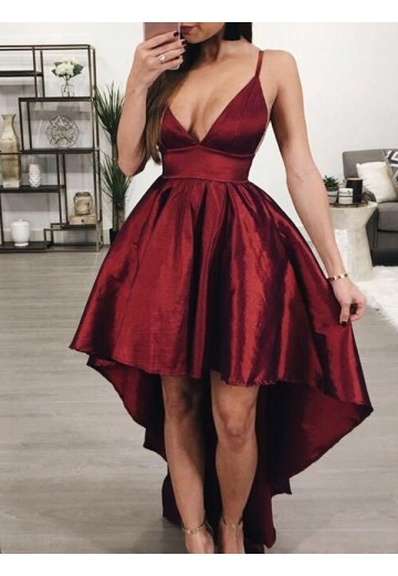 A-Line Satin Spaghetti Straps Asymmetrical Dress