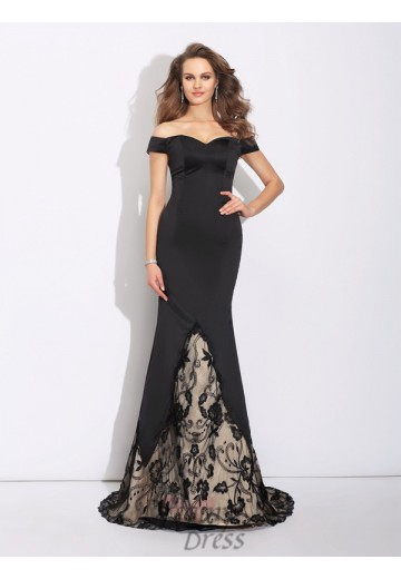Mermaid Off-the-Shoulder Lace Sweep/Brush Train Satin Dress