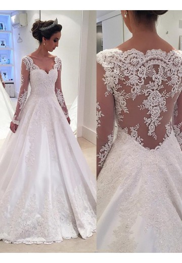 Ball Gown V Neck Long Sleeves Lace Court Train Satin Wedding Dress
