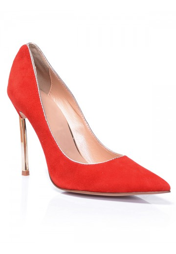 Red Suede Heel Evening Shoes S5MA0381LF