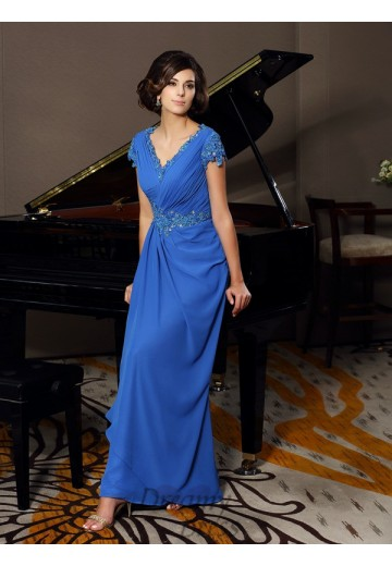 Short Sleeves V-neck Chiffon Floor-Length Mother of the Bride Dress