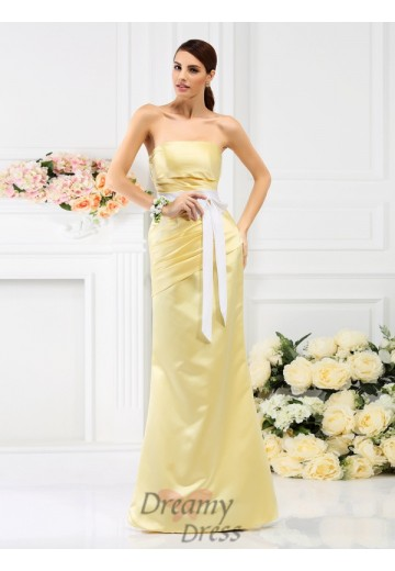 Trumpet/Mermaid Strapless Floor-Length Satin Bridesmaid Dress