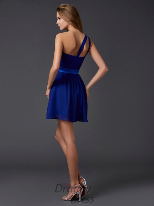 A-Line/Princess Chiffon One-Shoulder Pleats Short/Mini Dress