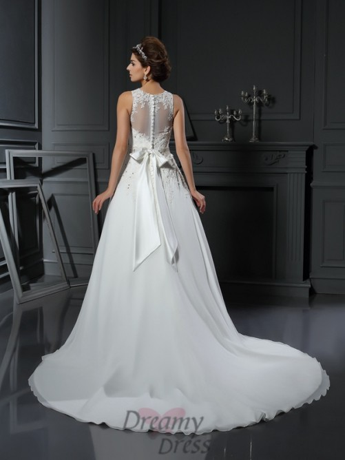 A-Line/Princess High Neck Satin Chapel Train Wedding Dress