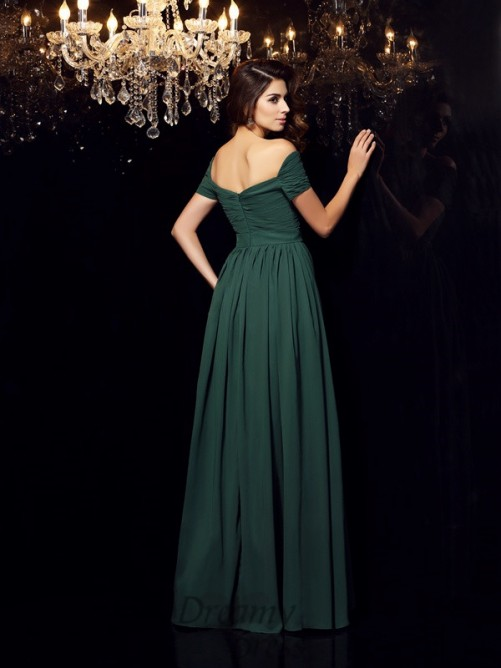 A-Line/Princess Off-the-Shoulder Chiffon Floor-Length Dress