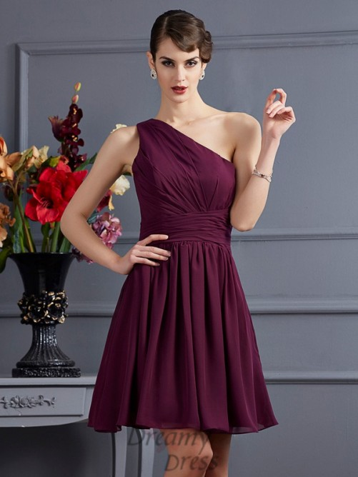A-Line/Princess One-Shoulder Pleats Short/Mini Chiffon Bridesmaid Dress