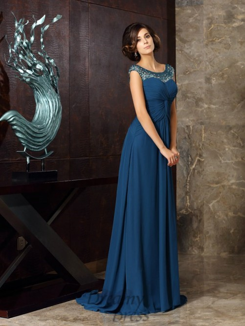 A-Line/Princess Scoop Sweep/Brush Train Chiffon Mother of the Bride Dress