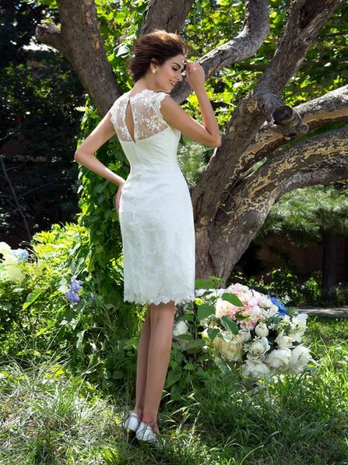 A-line Satin Knee-Length Wedding Dress