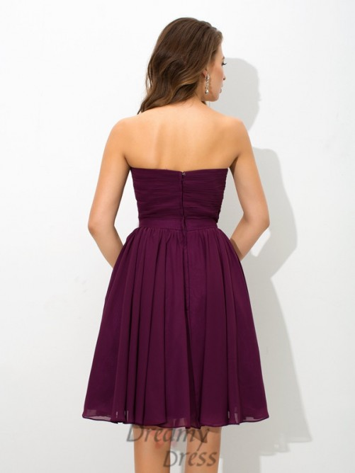 A-line V-neck Knee-Length Chiffon Bridesmaid Dress