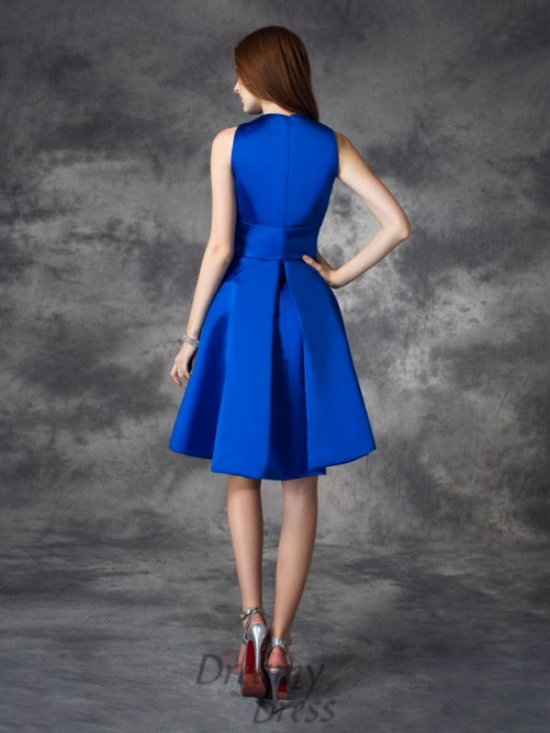 A-line V-neck Ruched Short Satin Bridesmaid Dress