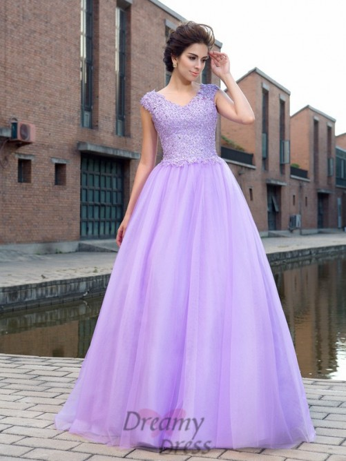 Ball Gown V-neck Short Sleeves Net Floor-Length Dress