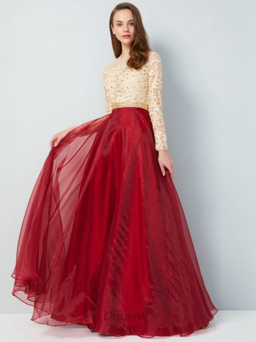 A-Line Sheer Neck Floor-Length Organza Dress with Applique