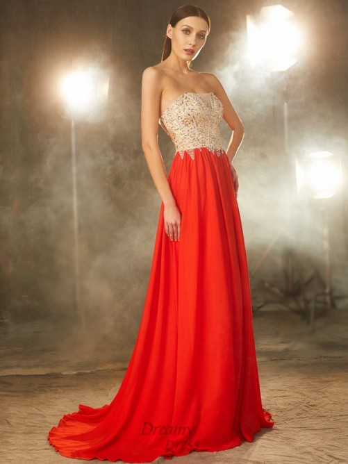 A-Line Strapless Chiffon Sweep/Brush Train Dress with Beading