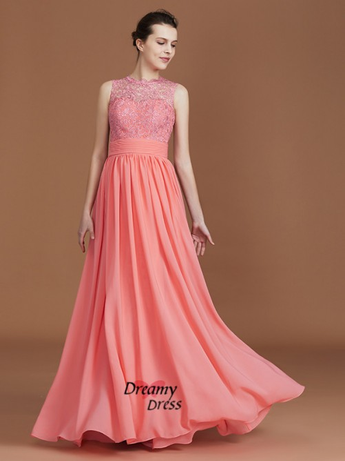 A-Line Jewel Floor-Length Chiffon Bridesmaid Dress