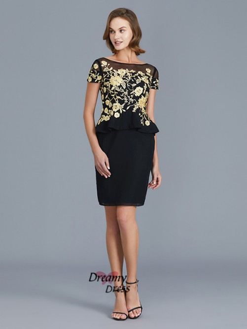 Sheath Scoop Knee-Length Chiffon Mother of the Bride Dress