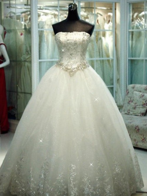Ball Gown Strapless Tulle Floor-Length Wedding Dress