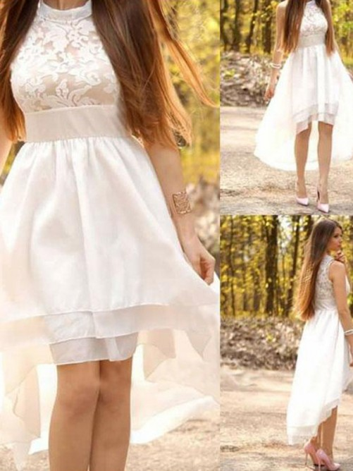 A-Line Chiffon Halter Asymmetrical Wedding Dress