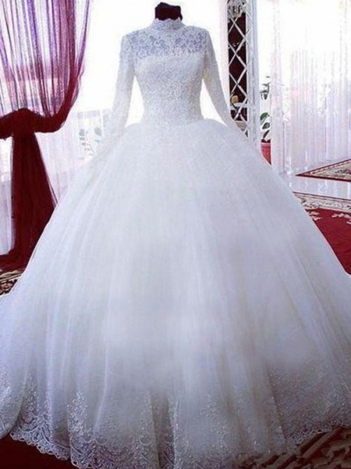 Ball Gown Lace Tulle High Neck Chapel Train Wedding Dress