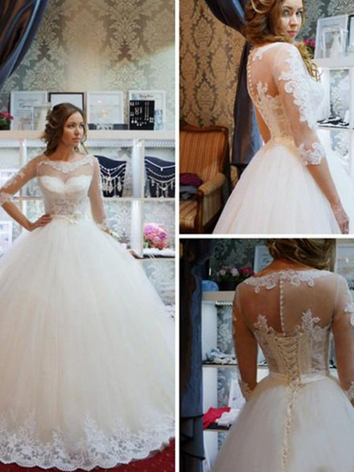 Ball Gown Tulle Scoop Floor-Length Wedding Dress