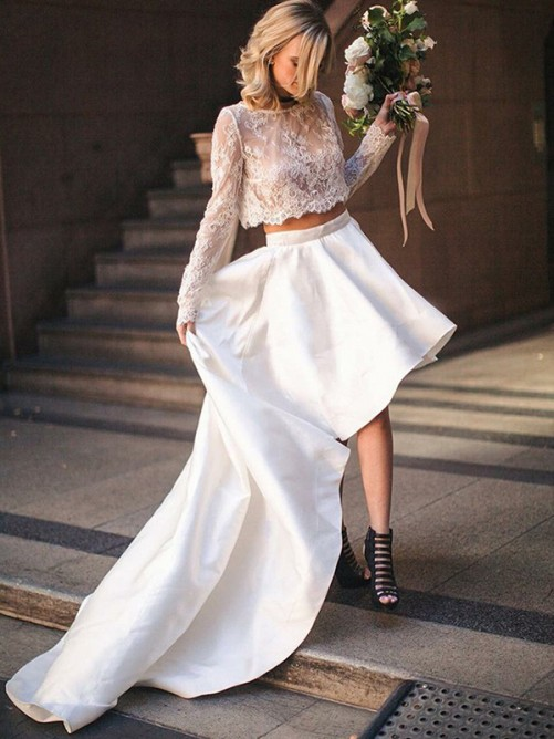 A-Line Satin Lace Scoop Sweep/Brush Train Two Piece Wedding Dress