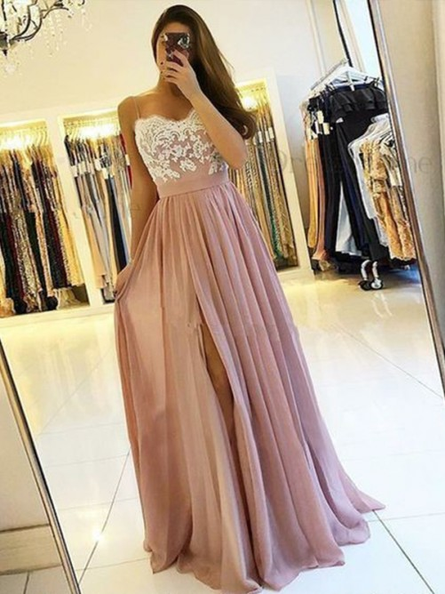 A-Line Spaghetti Straps Floor-Length Chiffon Dress