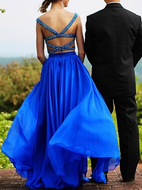A-Line/Princess Sweetheart Chiffon Floor-Length Two Piece Dress