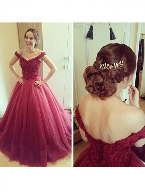 Ball Gown Off-the-Shoulder Sleeveless Floor-Length Tulle Dresses
