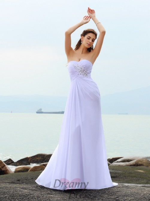 Sheath/Column Sweetheart Chiffon Chapel Train Wedding Dress