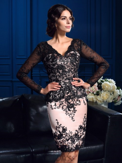 Sheath/Column V-neck Long Sleeves Short Lace Mother Of The Bride Dress