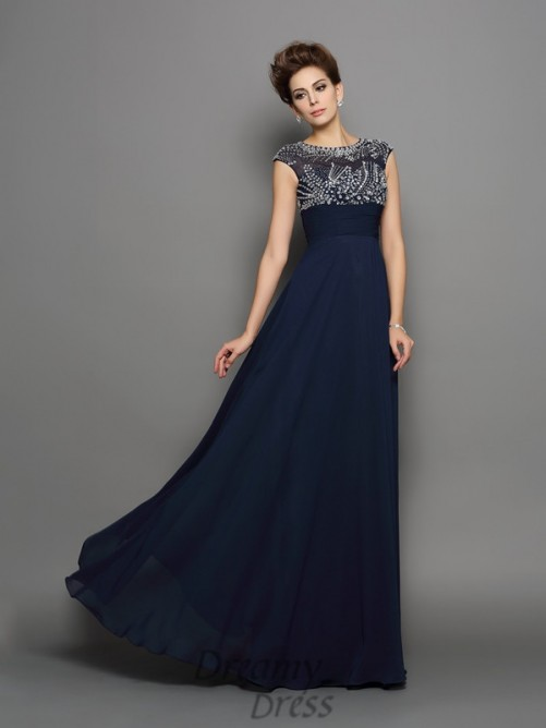 Short Sleeves Scoop Chiffon Floor-Length Dress