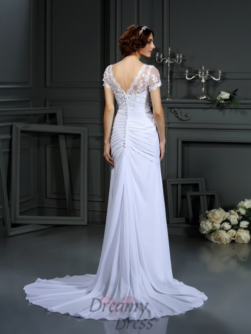 V-neck Short Sleeves Lace Chiffon Court Train Wedding Dress