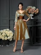 3/4 Sleeves V-neck Taffeta Tea-Length Mother of the Bride Dress