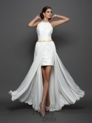 A-Line/Princess High Neck Chiffon Lace Chapel Train Wedding Dress