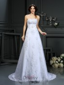 A-Line/Princess Strapless Satin Court Train Wedding Dress