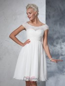 A-line Short Sleeves Chiffon Knee-Length Ruched Wedding Dress