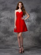 A-line Sweetheart Ruched Short Chiffon Cocktail Dress